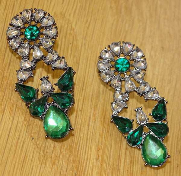 Emerald Rhinestone Retro Earrings