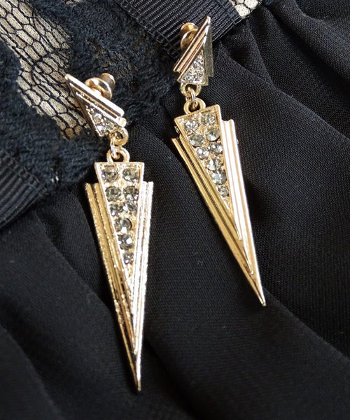 Art Deco Rhinestone Earrings