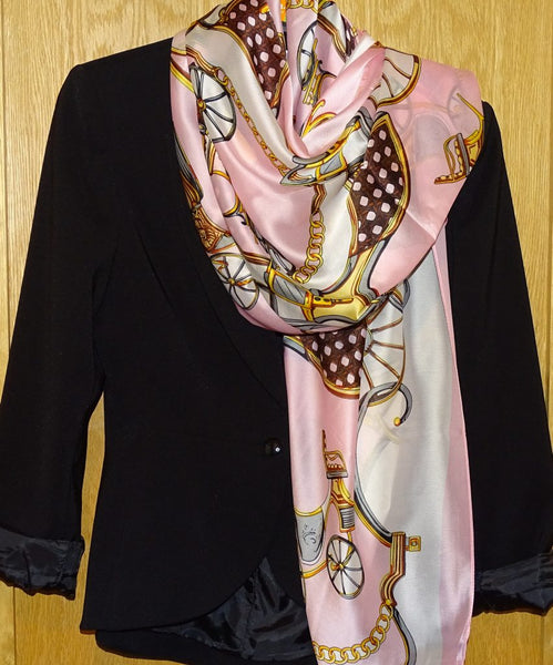Horse Drawn Carriage Print Silk Scarf
