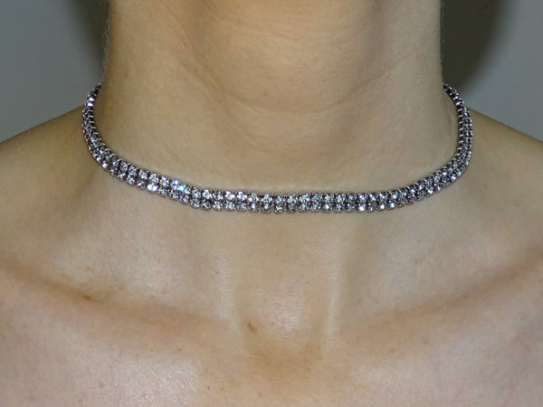 Rhinestone Double Row Choker