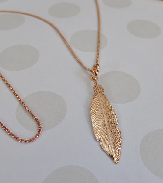 Feather Rosegold Plated Pendant
