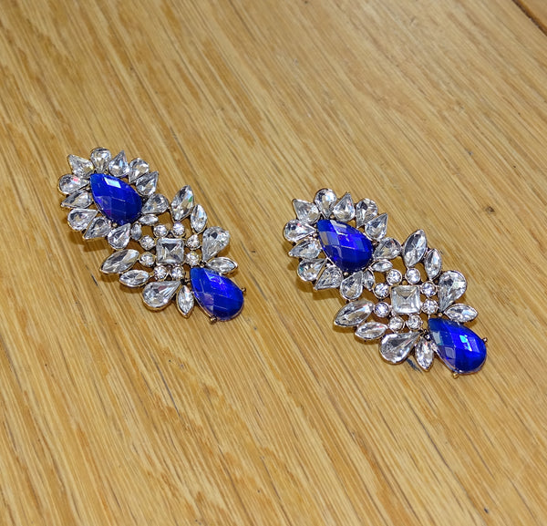Sapphire Blue Rhinestone Earrings