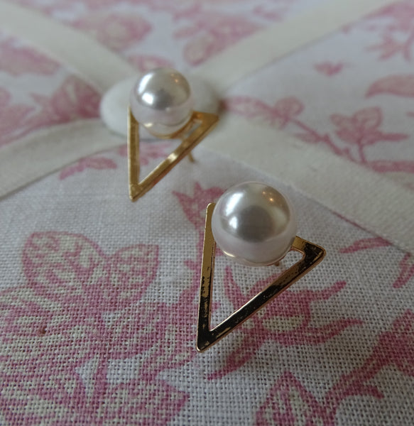 Triangle Pearl Stud Earrings