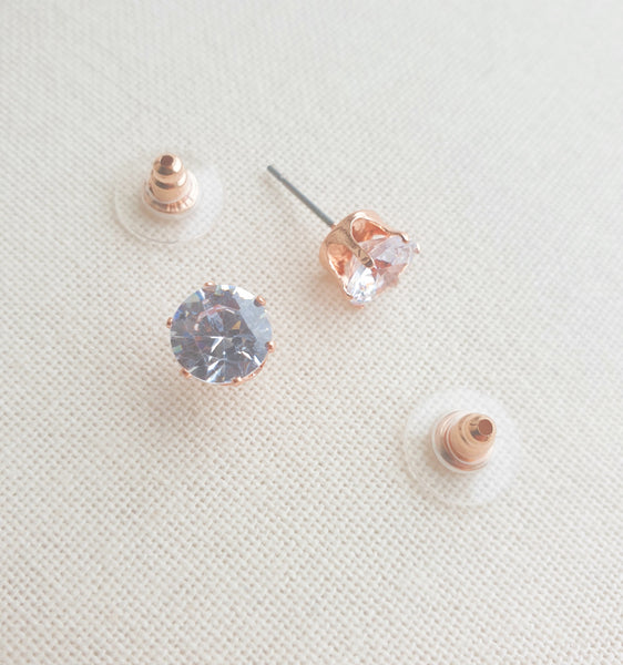 Rosegold CZ Stud Earrings