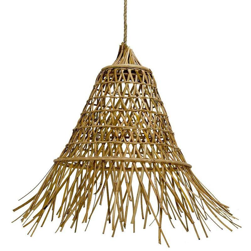 Cone Shaped Rattan Pendant | Small