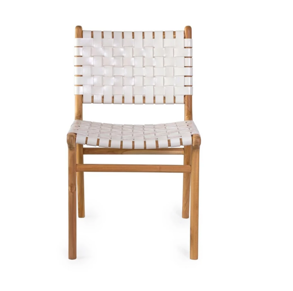 Woven Leather Dining Chair - White