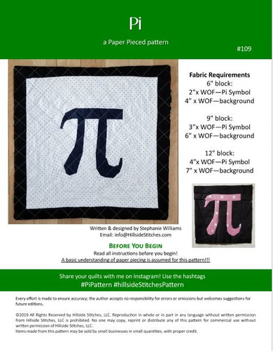 Pi PDF Pattern (Paper Pieced)