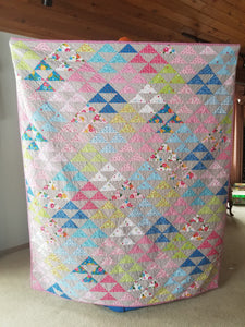 """Triangle Parade"" - Feminine Twin Quilt"