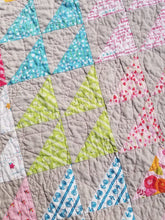 "Load image into Gallery viewer, ""Triangle Parade"" - Feminine Twin Quilt"