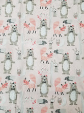 Load image into Gallery viewer, Woodland Fabric, Bears, Foxes, Bunnies, Porcupines, Owls, Forest, Whimsical, One Yard