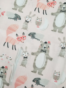 Woodland Fabric, Bears, Foxes, Bunnies, Porcupines, Owls, Forest, Whimsical, One Yard