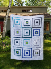 "Load image into Gallery viewer, ""Playhouse"" - Modern Log Cabin, Toddler Quilt"