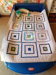 """Playhouse"" - Modern Log Cabin, Toddler Quilt"
