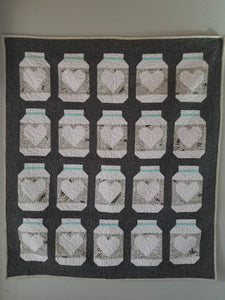 """Farmhouse Mason Jar"" Literary Modern Throw Quilt"