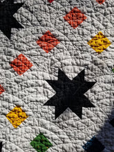 "Load image into Gallery viewer, ""Starburst Chain"" - Rainbow Star Full Quilt"
