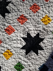 """Starburst Chain"" - Rainbow Star Full Quilt"
