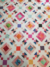 "Load image into Gallery viewer, ""Hurricane Chain"" Modern Rainbow Full Quilt"