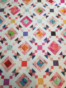 """Hurricane Chain"" Modern Rainbow Full Quilt"