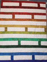 "Load image into Gallery viewer, ""Ladder Quilt"" - Modern Rainbow Baby Quilt"