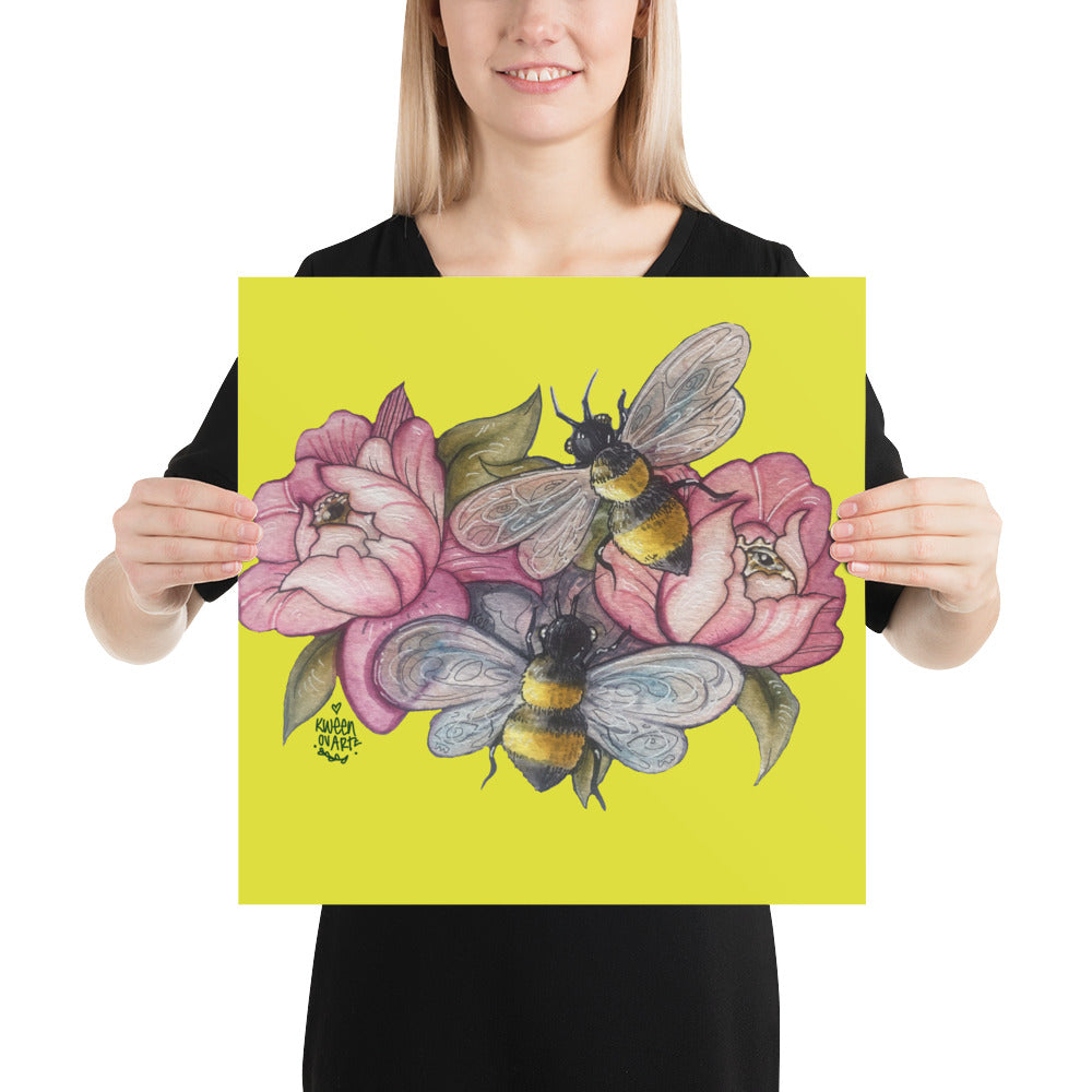 Bee Happy - Yellow Poster