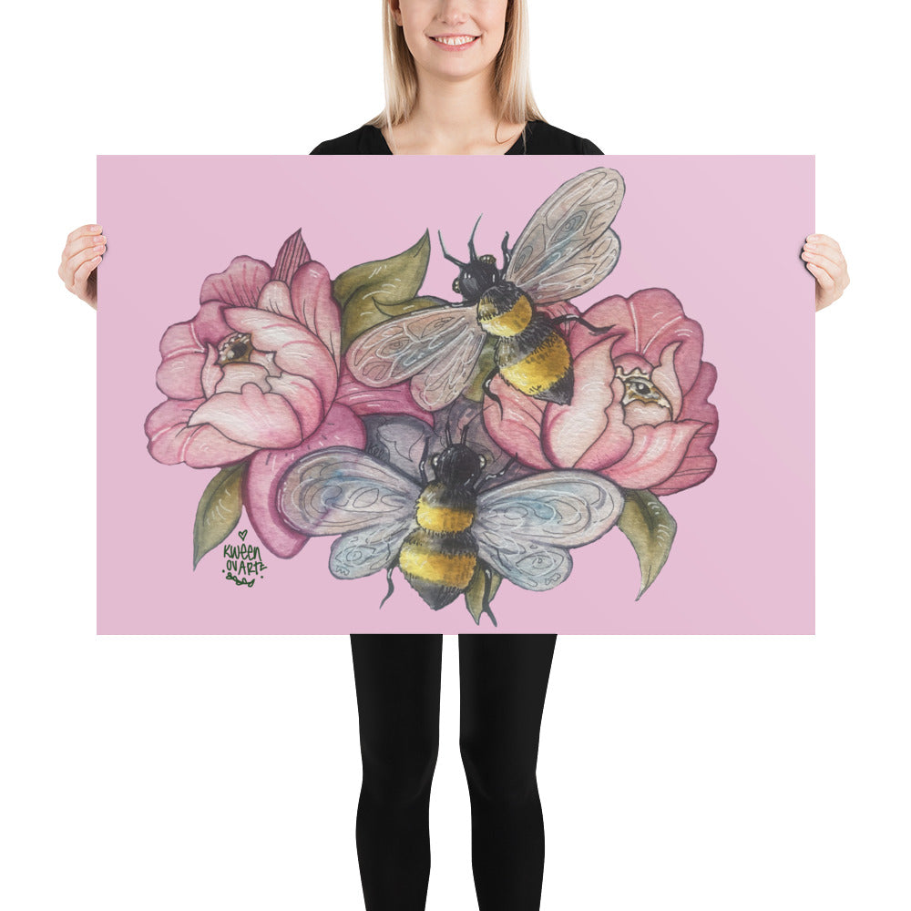 Bee Happy Pink Poster