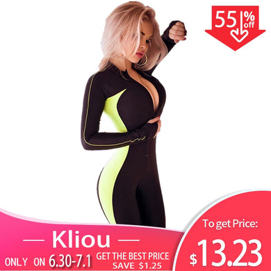 Kliou Fluorescent color patchwork female push up fitness jumpsuits