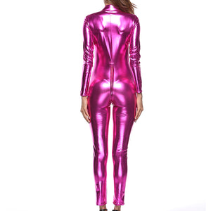 Sexy Women Zip Faux Leather Bodysuit Long Sleeve  Shiny Jumpsuit