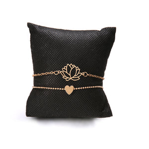 Hollow Lotus Gold Bracelets