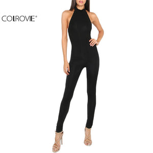 COLROVIE Women Plain Black jumpsuit