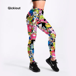 Qickitout Leggings Fitness & body building Pants women workout leggings adventure time cartoon Styles Printed big size leggings