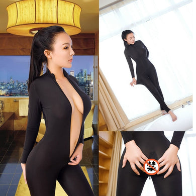 Sexy Open Crotch Bodycon Long Sleeve Jumpsuits