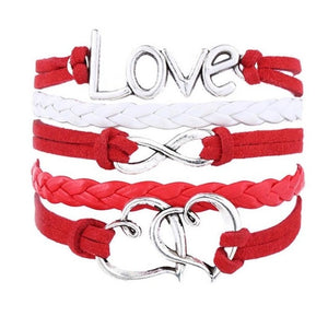 Handmade Love Charm Leather Bracelet