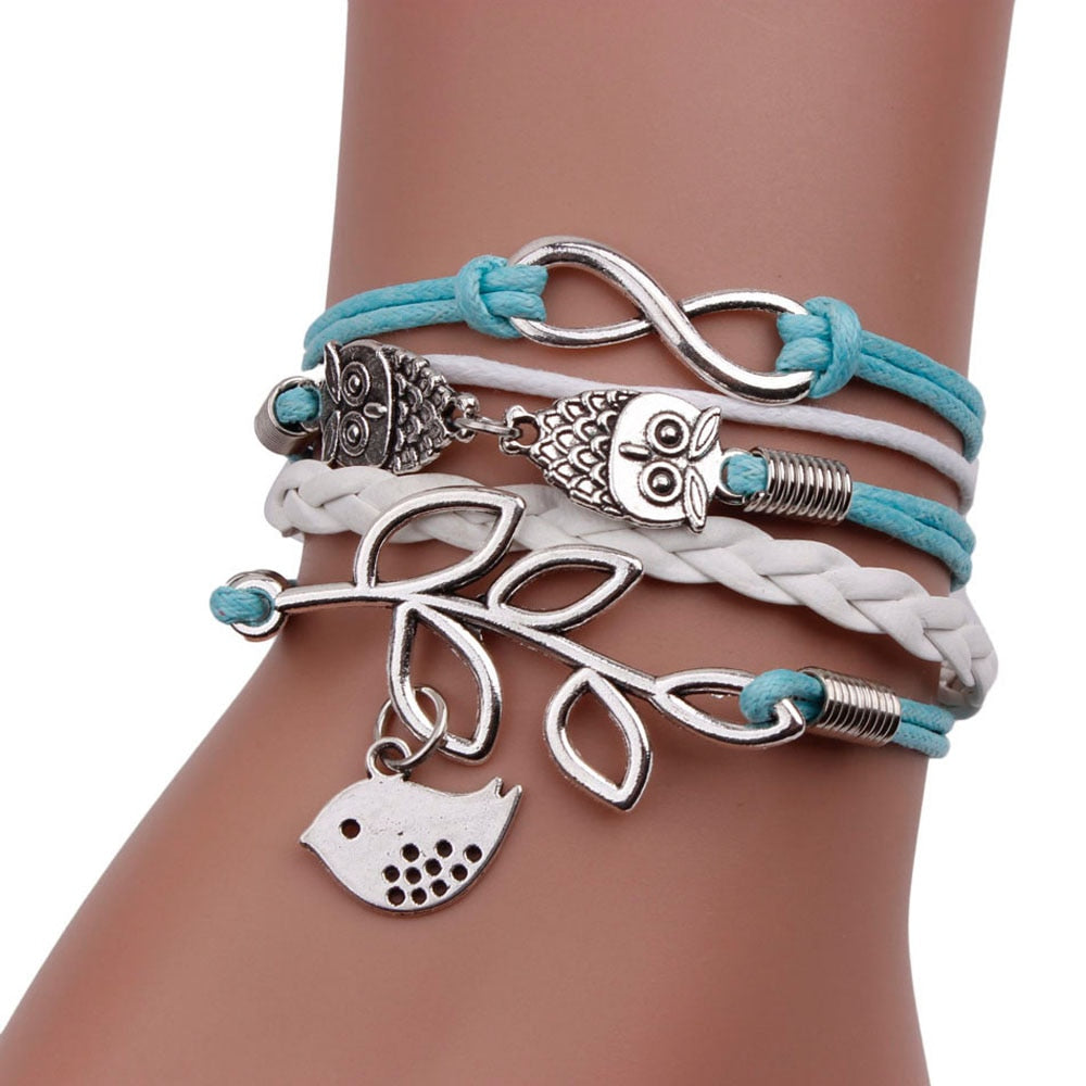 Retro Women 8 Owl Leaf Bird Bracelet