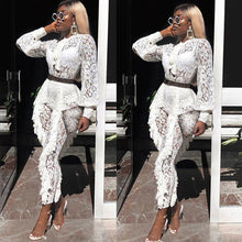 Load image into Gallery viewer, Sheer Long Sleeve White Lace Jumpsuit for Women