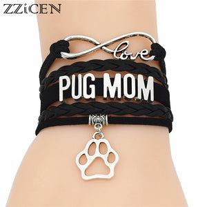 Pug Mom Black Leather Handmade Bracelets