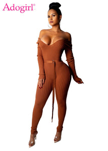 Adogirl Solid Off Shoulder Ribbed Jumpsuit  Women Sexy