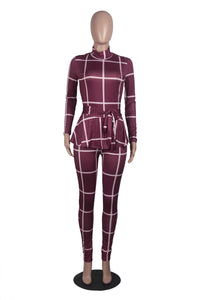 Plaid Print Bodycon Jumpsuit Women