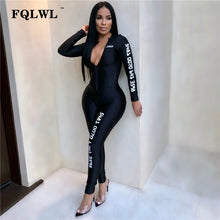 Load image into Gallery viewer, FQLWL Long Sleeve Black Bodycon Female Jumpsuit