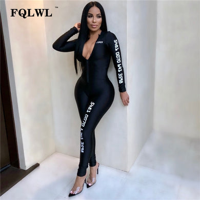 FQLWL Long Sleeve Black Bodycon Female Jumpsuit