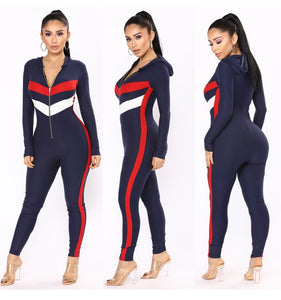 Zipper Hooded Rompers Jumpsuits For Women