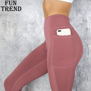 Pocket Solid Sport Yoga Pants High Waist Mesh Sport Leggings