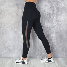 Load image into Gallery viewer, Pocket Solid Sport Yoga Pants High Waist Mesh Sport Leggings