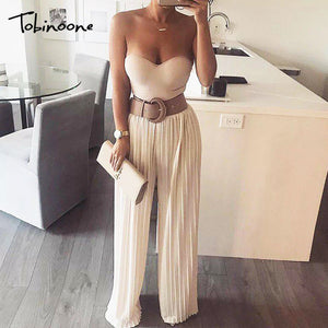 Tobinoone Ruffle strap wide leg jumpsuit for women