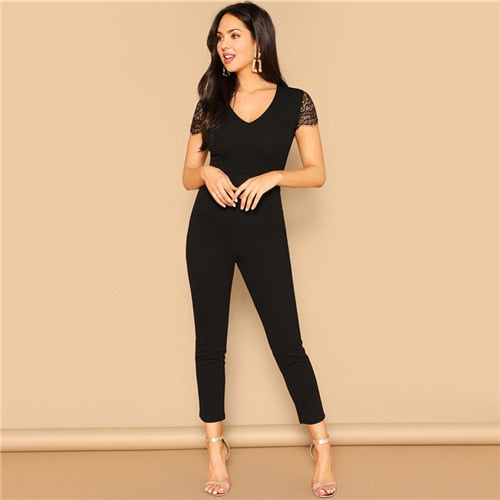 Sleeve Solid Jumpsuit Elegant Black Jumpsuits For Women