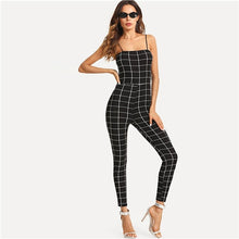 Load image into Gallery viewer, COLROVIE Spaghetti Strap Grid Skinny Sexy Jumpsuit