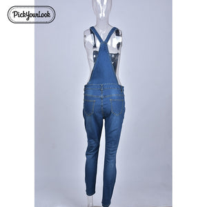 Pickyourlook Women Plus Size Overalls Denim Jumpsuit