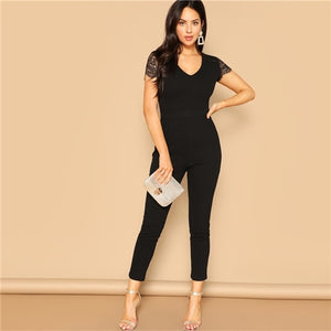 COLROVIE Black V Neck  Jumpsuit for Women