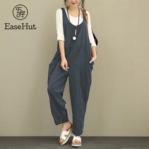 EaseHut Retro Cotton Linen Rompers Womens Jumpsuits 2019