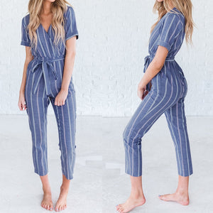 ZANZEA Women Casual Rompers  Striped Jumpsuits
