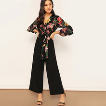 Load image into Gallery viewer, SHEIN Lady Elegant Floral Print Wrap Bodice Wide Leg Jumpsuit
